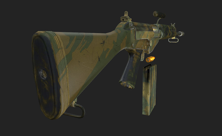 Модель FN FAL LowPoly royalty-free 3d model - Preview no. 11
