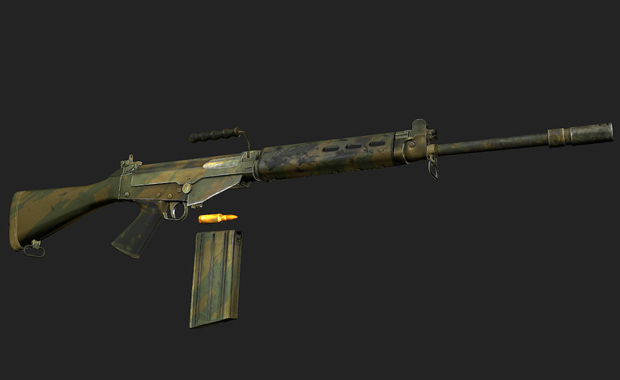 Модель FN FAL LowPoly royalty-free 3d model - Preview no. 8