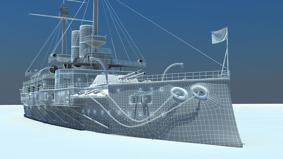 Ocean battleship royalty-free 3d model - Preview no. 10