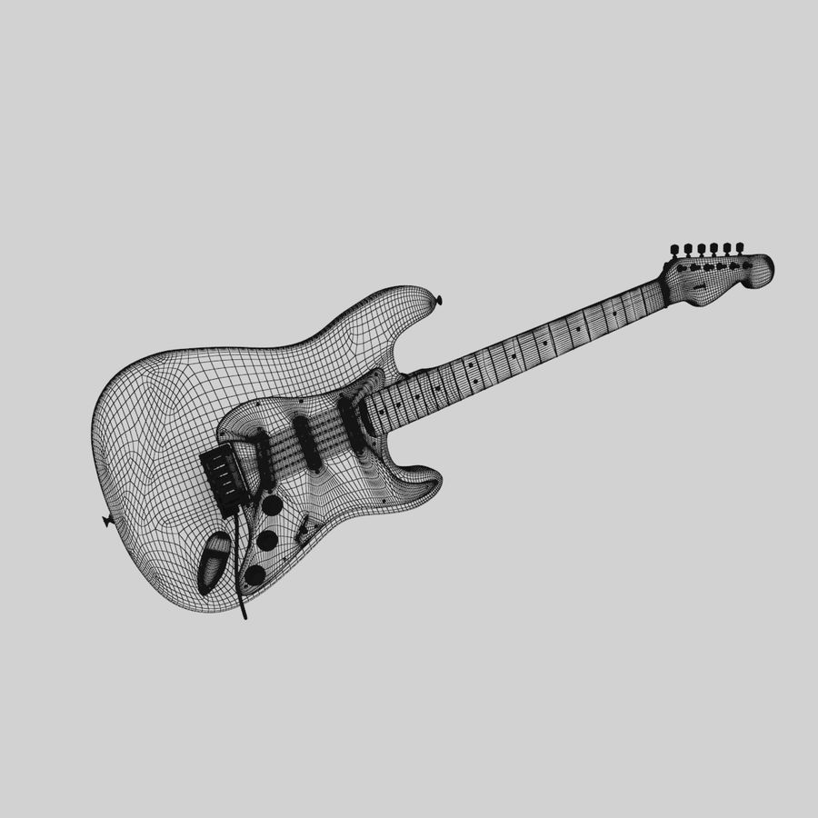 Fender Stratocaster Guitar royalty-free 3d model - Preview no. 13