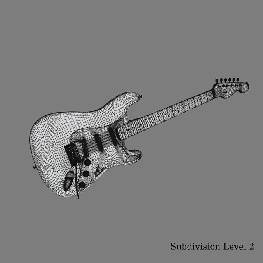Fender Stratocaster Guitar royalty-free 3d model - Preview no. 17