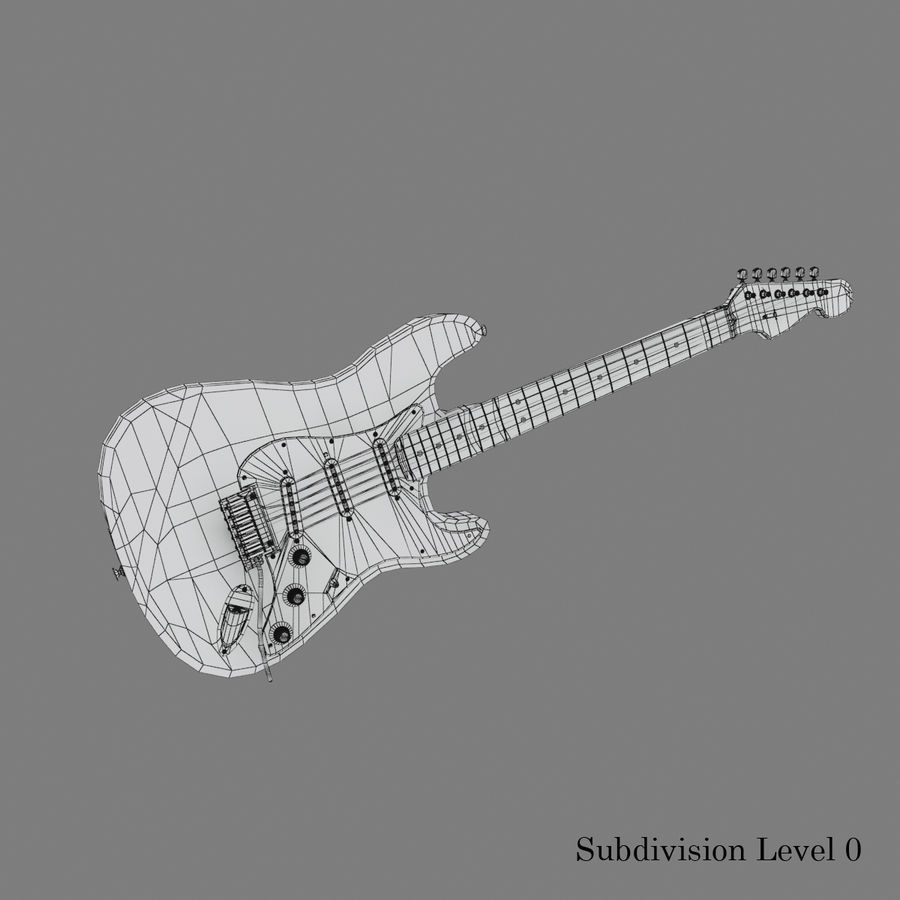 Fender Stratocaster Guitar royalty-free 3d model - Preview no. 16