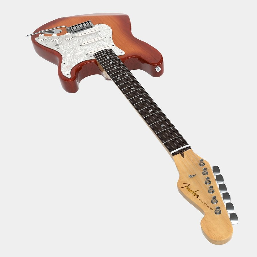Fender Stratocaster Guitar royalty-free 3d model - Preview no. 5