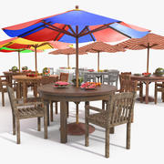 Beach Sun Umbrella Bar Scene 3d model