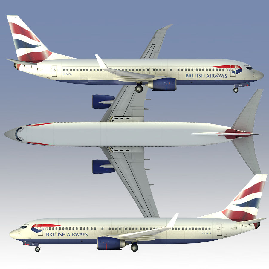 영국 항공 상업용 항공기 royalty-free 3d model - Preview no. 3