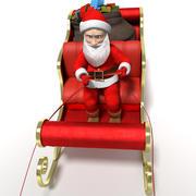 圣诞老人雪橇与驯鹿 3d model