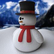 눈사람 및 절차 눈 3d model