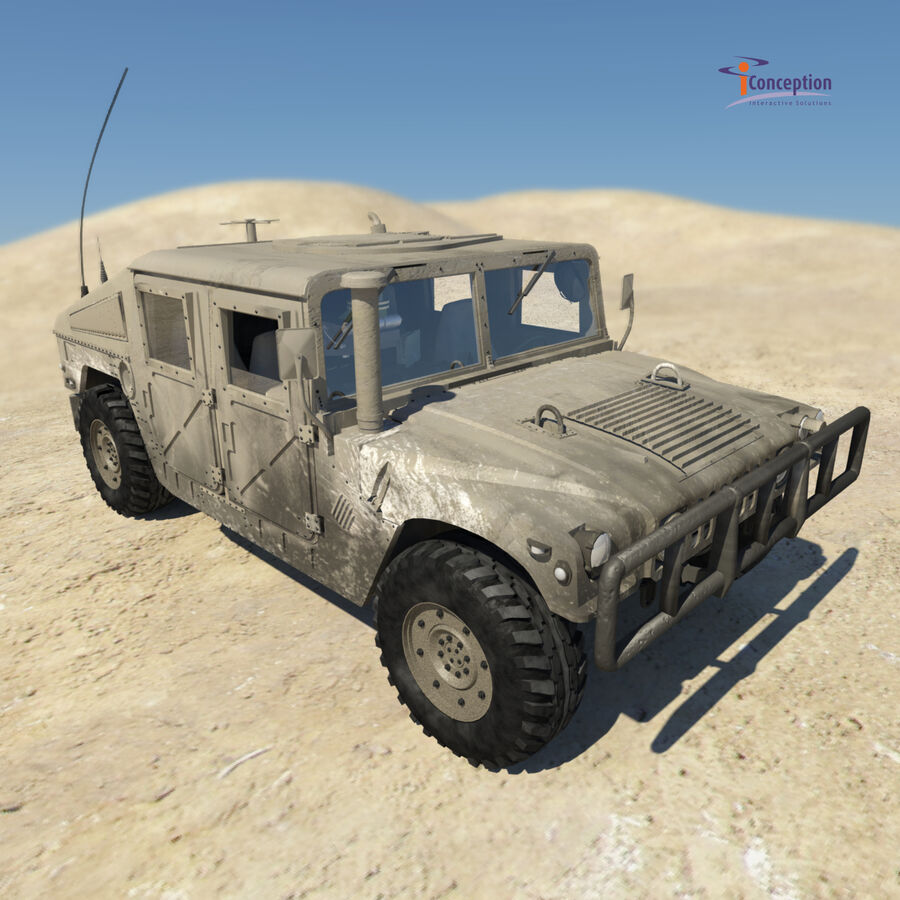 Humvee HMMWV Military royalty-free 3d model - Preview no. 3
