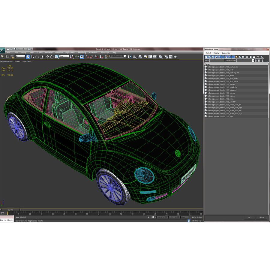 VW Beetle 1998 royalty-free 3d model - Preview no. 79