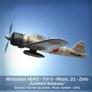Mitsubishi A6M2 Zero - Перевозчик Shokaku 3d model