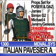 이탈리아 Pavesier 군인 1300에 대한 소품 세트 잘난 척 Daz 3d model