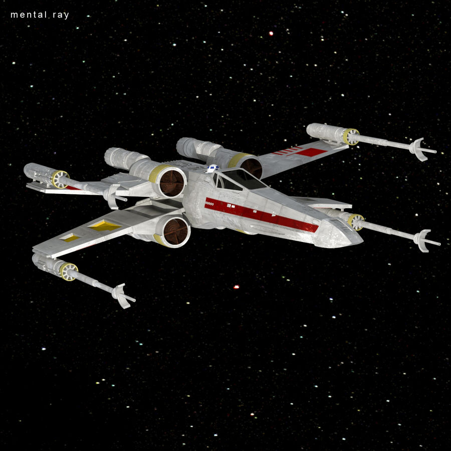 X-WIng et Tie Fighter royalty-free 3d model - Preview no. 28