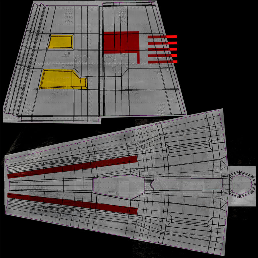 X-WIng et Tie Fighter royalty-free 3d model - Preview no. 26