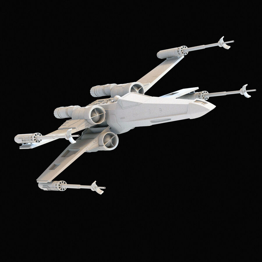 X-WIng et Tie Fighter royalty-free 3d model - Preview no. 24