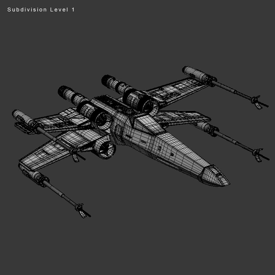 X-WIng and Tie Fighter royalty-free 3d model - Preview no. 31