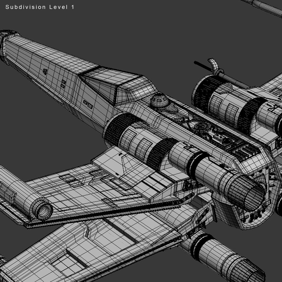 X-WIng et Tie Fighter royalty-free 3d model - Preview no. 32