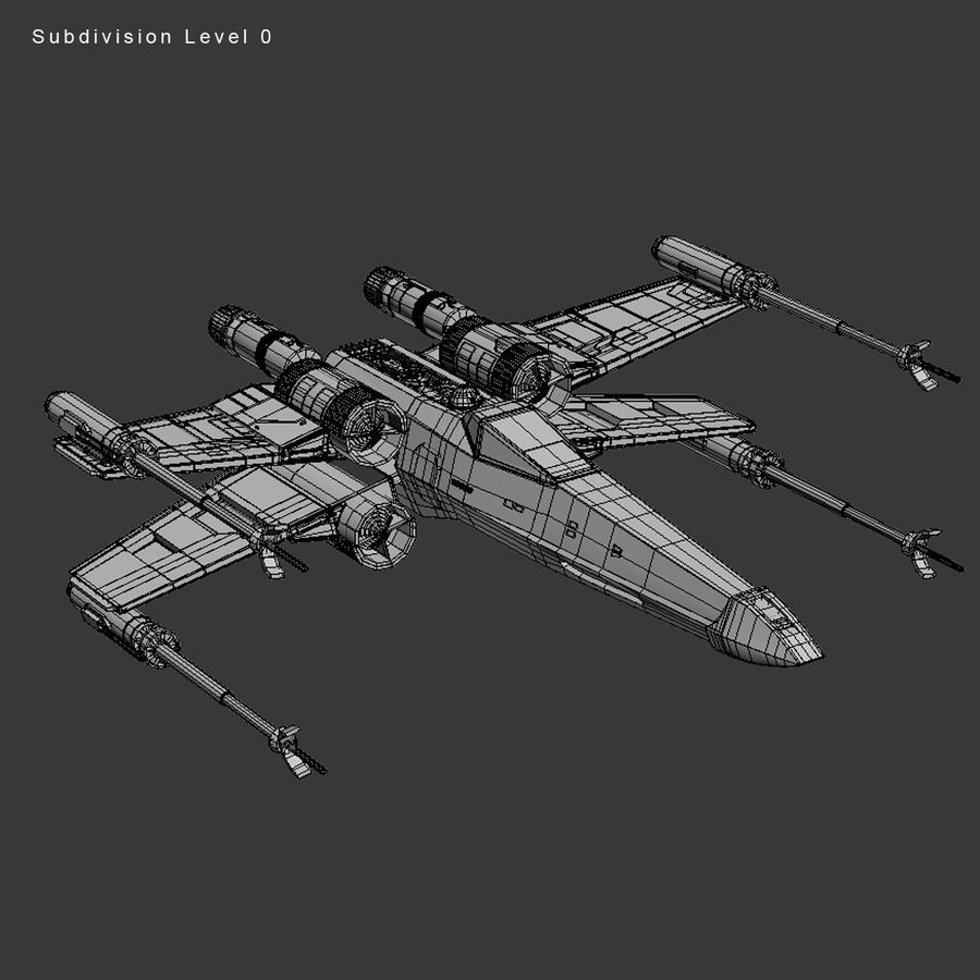 X-WIng et Tie Fighter royalty-free 3d model - Preview no. 30