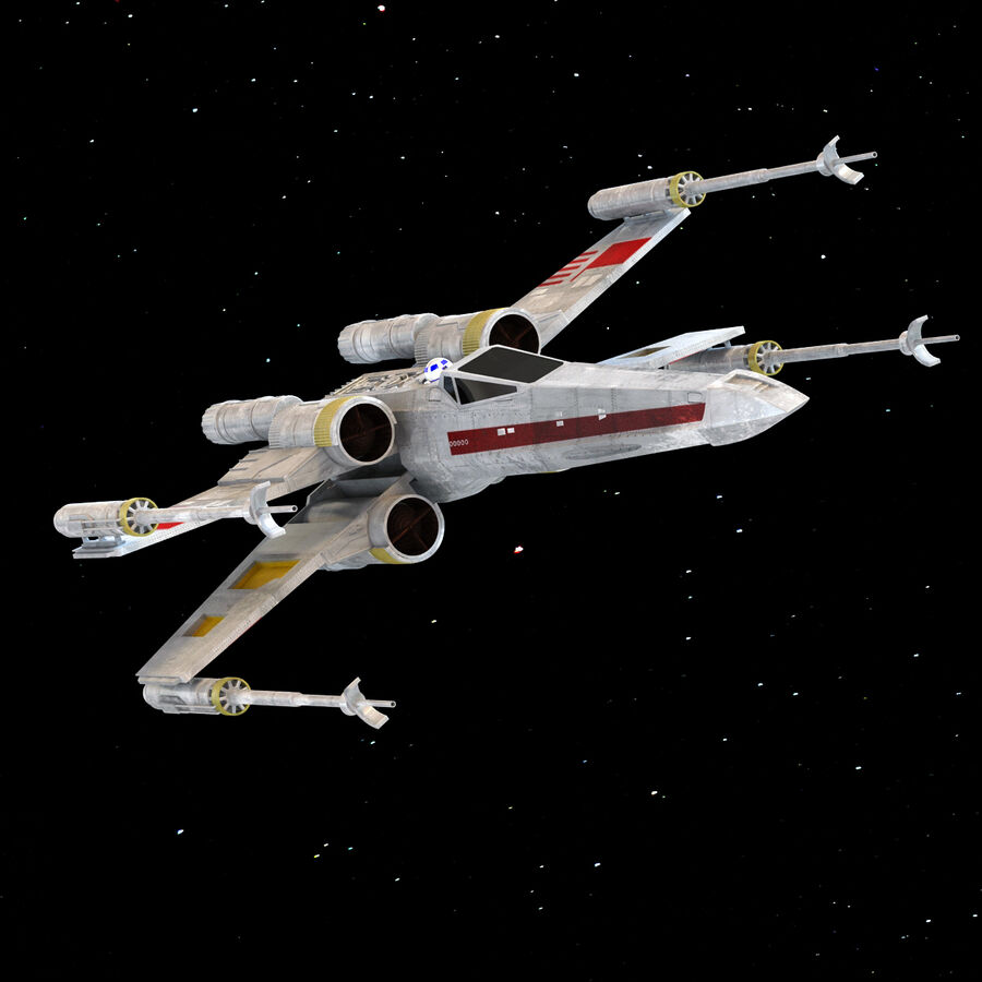 X-WIng et Tie Fighter royalty-free 3d model - Preview no. 16