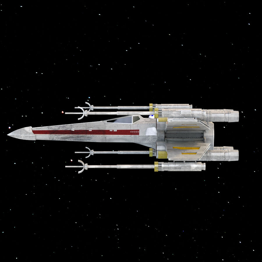 X-WIng et Tie Fighter royalty-free 3d model - Preview no. 20