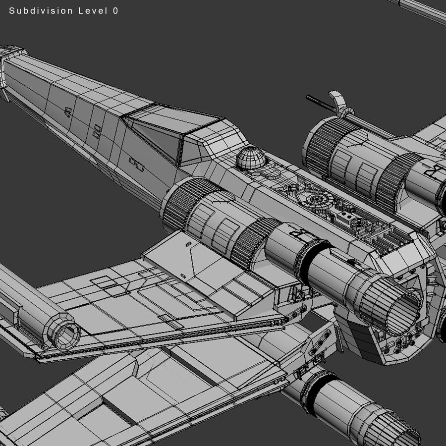 X-WIng and Tie Fighter royalty-free 3d model - Preview no. 33