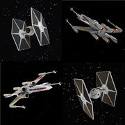 X-WIng och Tie Fighter 3d model
