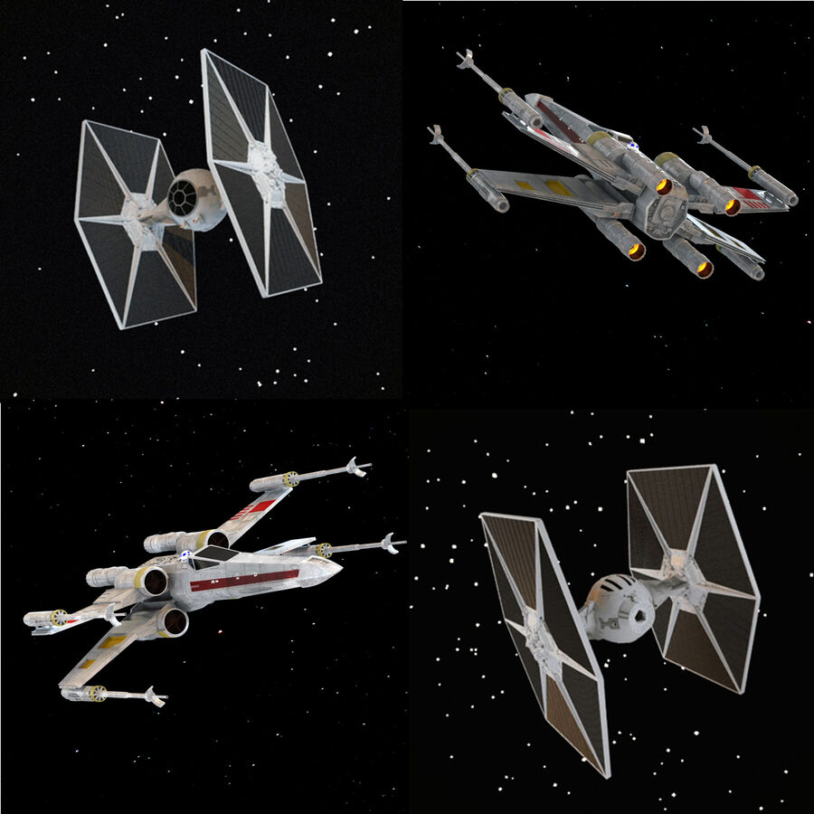 X-WIng et Tie Fighter royalty-free 3d model - Preview no. 1