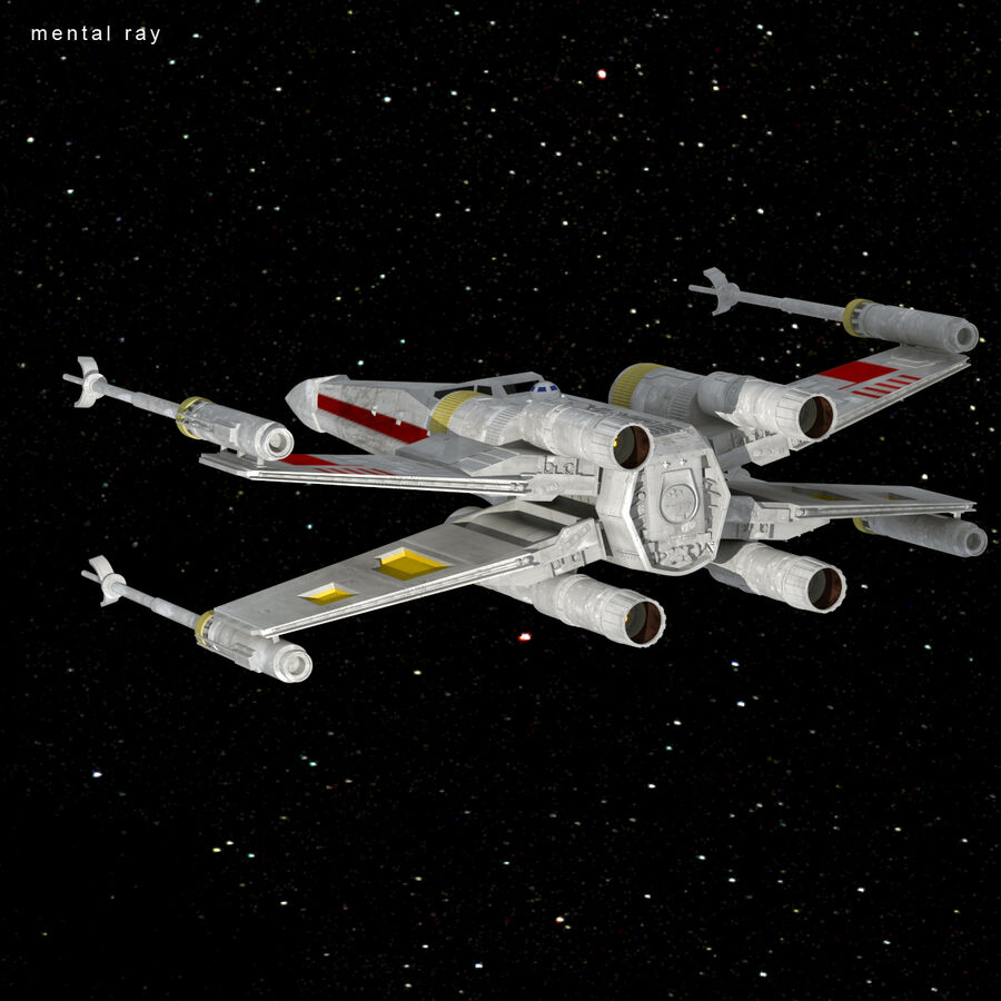 X-WIng et Tie Fighter royalty-free 3d model - Preview no. 27