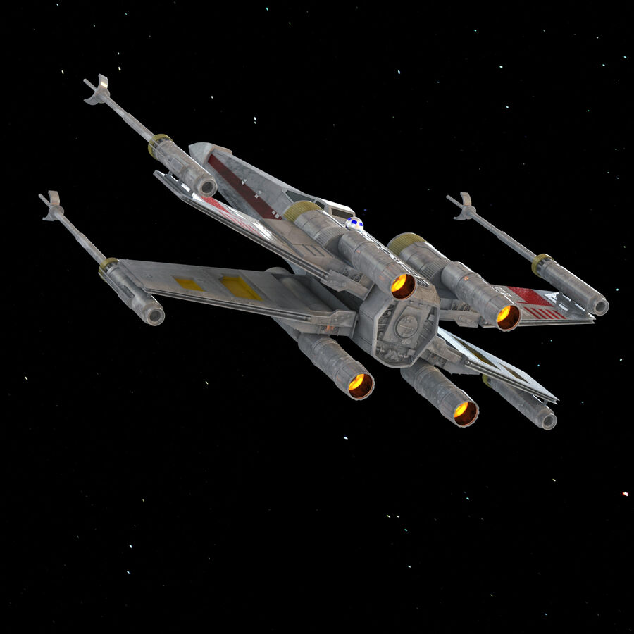 X-WIng et Tie Fighter royalty-free 3d model - Preview no. 17