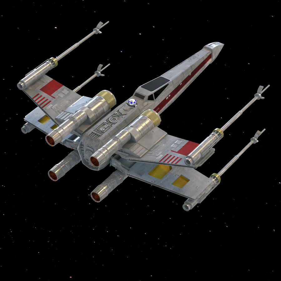 X-WIng et Tie Fighter royalty-free 3d model - Preview no. 19
