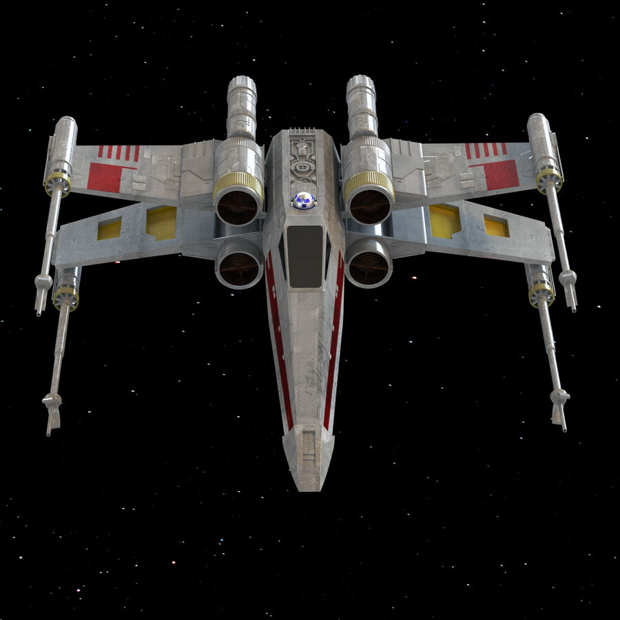 X-WIng et Tie Fighter royalty-free 3d model - Preview no. 18