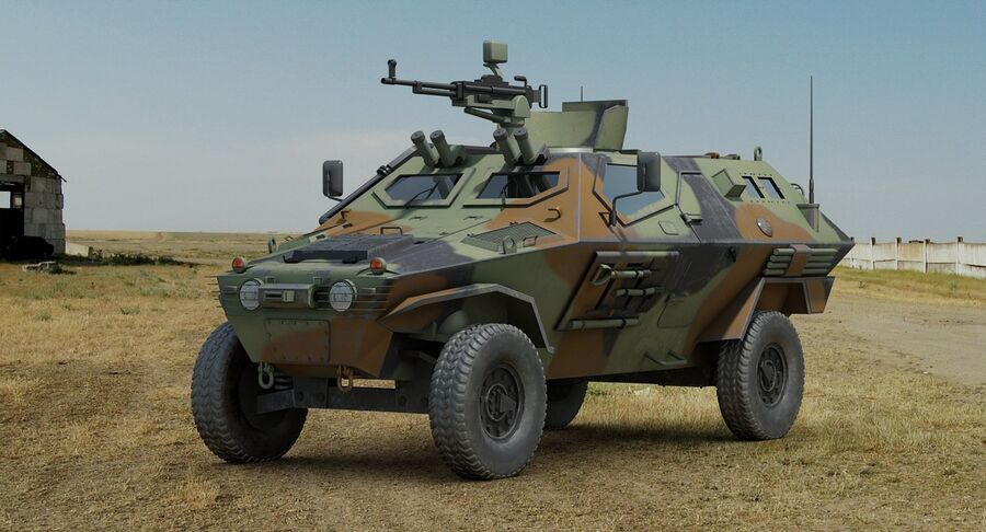 Otokar Cobra Armored Vehicle royalty-free 3d model - Preview no. 3