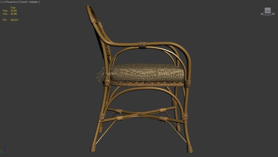Straw chair with pillow royalty-free 3d model - Preview no. 3