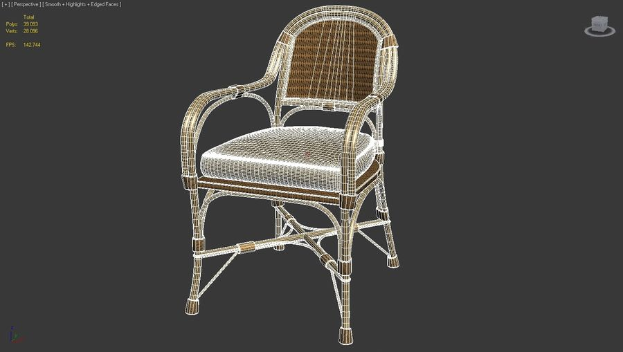 Straw chair with pillow royalty-free 3d model - Preview no. 5