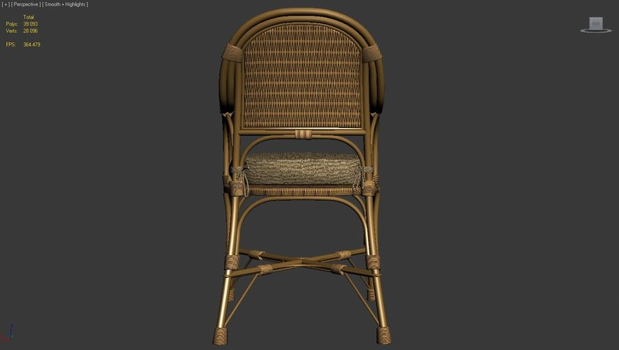 Straw chair with pillow royalty-free 3d model - Preview no. 4