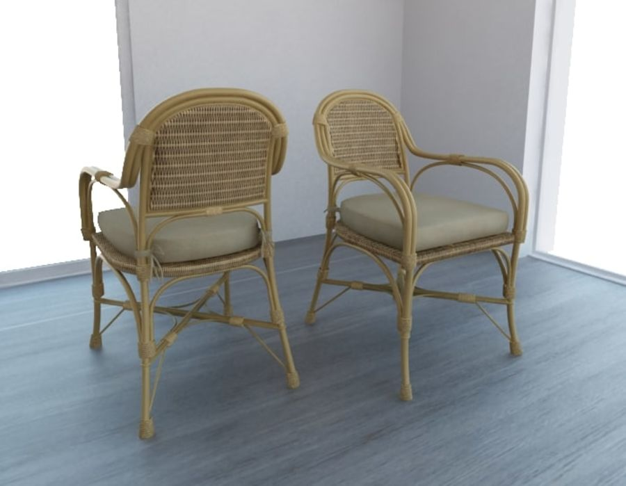 Straw chair with pillow royalty-free 3d model - Preview no. 1