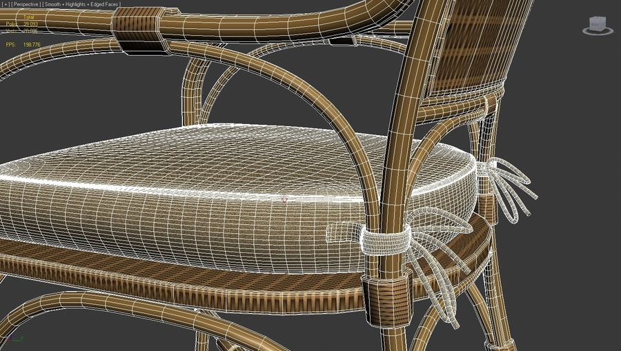 Straw chair with pillow royalty-free 3d model - Preview no. 6