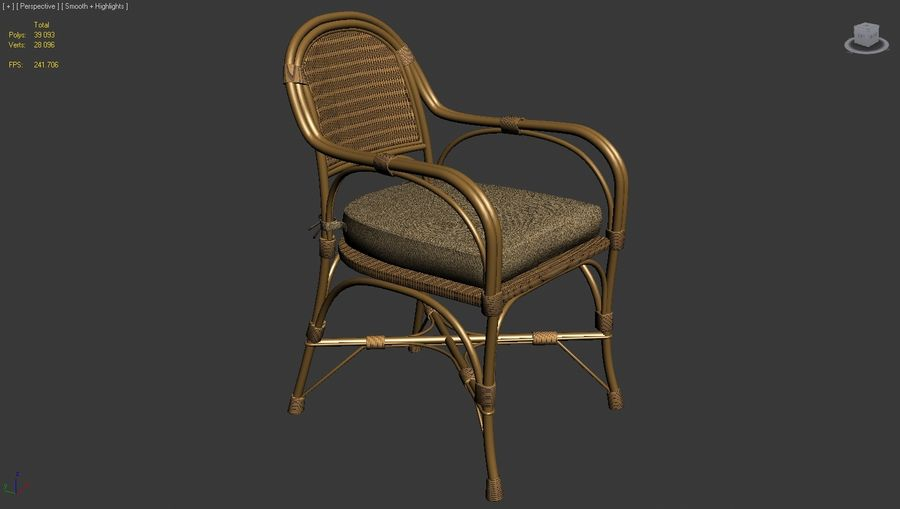 Straw chair with pillow royalty-free 3d model - Preview no. 2