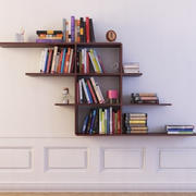 bookshelf 12 Wall Hung Bookshelf with books 3d model