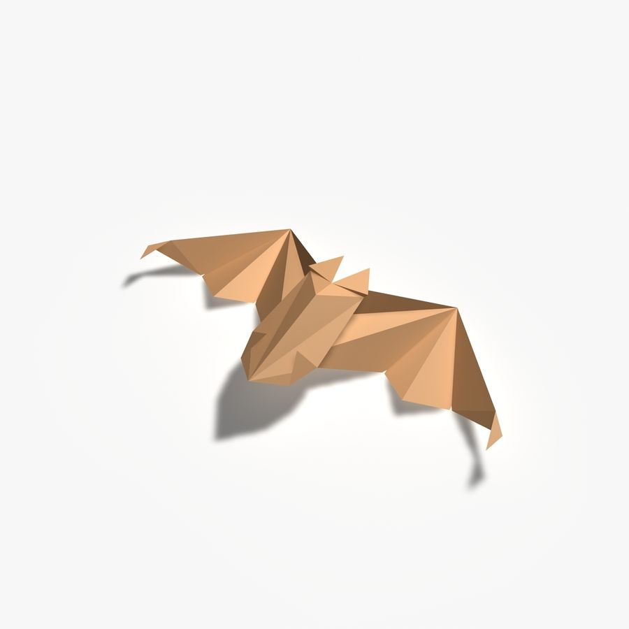 Origami Fledermaus royalty-free 3d model - Preview no. 5