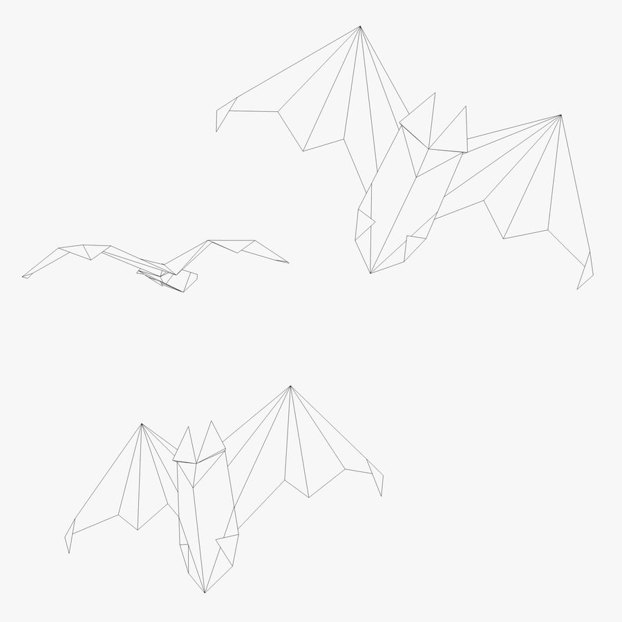 Origami Fledermaus royalty-free 3d model - Preview no. 2