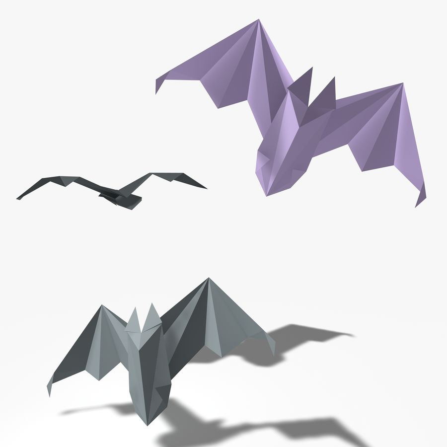 Origami Fledermaus royalty-free 3d model - Preview no. 1