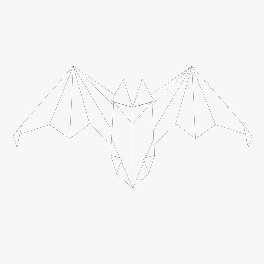 Origami Fledermaus royalty-free 3d model - Preview no. 4