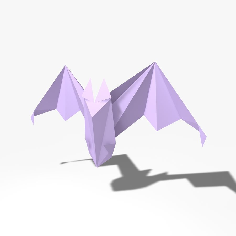Origami Fledermaus royalty-free 3d model - Preview no. 7