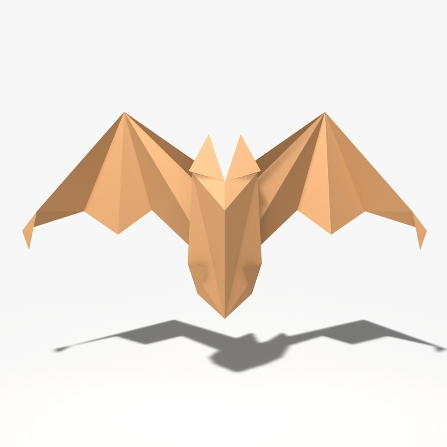 Origami Fledermaus royalty-free 3d model - Preview no. 3