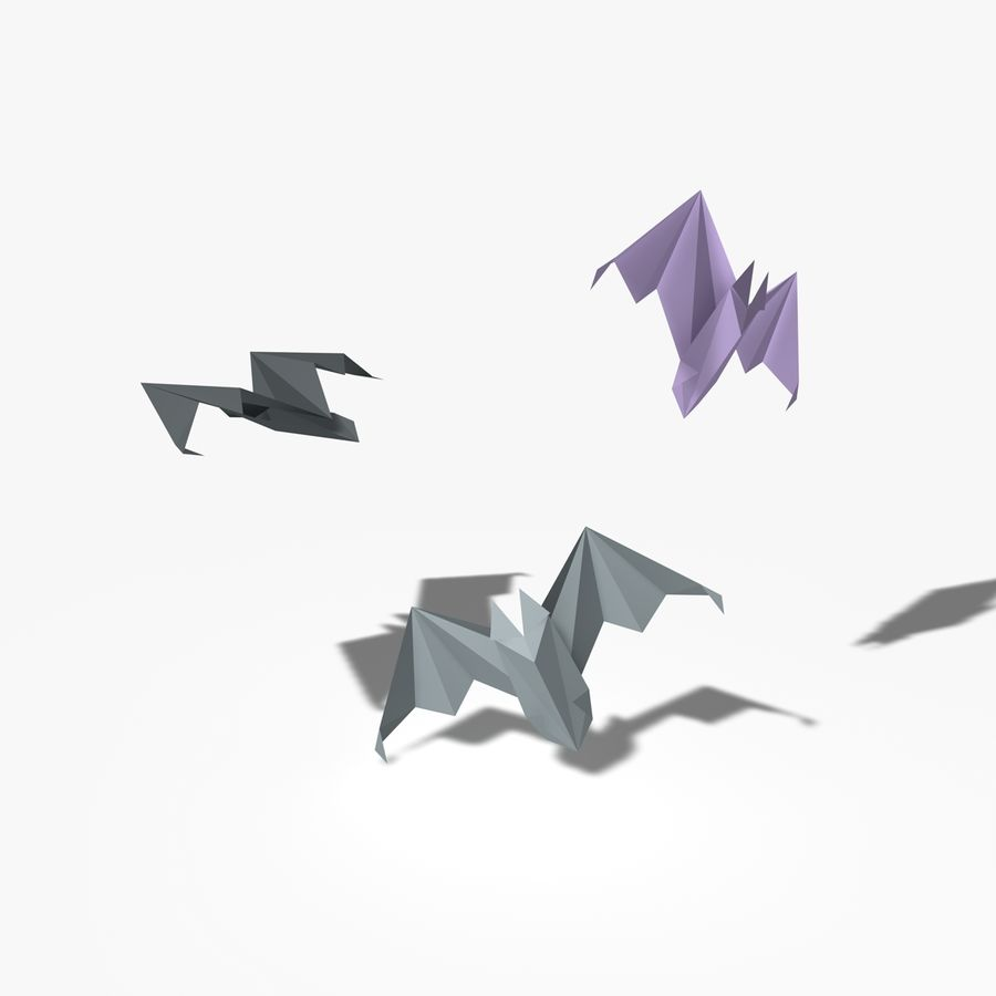 Origami Fledermaus royalty-free 3d model - Preview no. 6