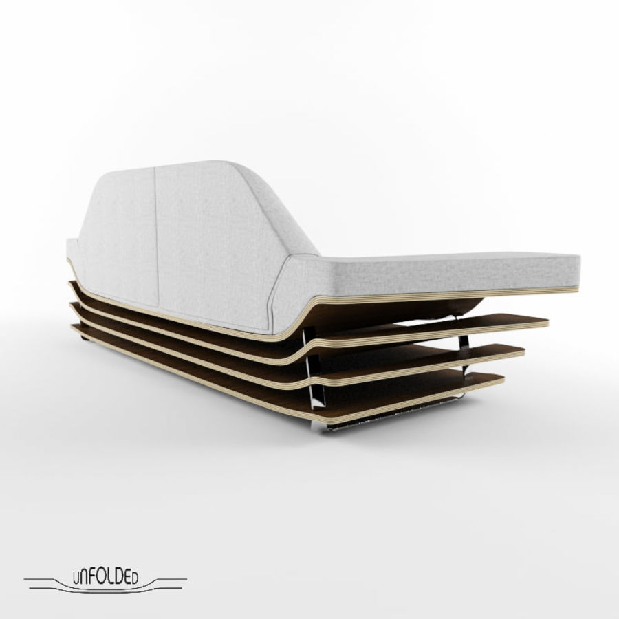 Rozkładana sofa royalty-free 3d model - Preview no. 4