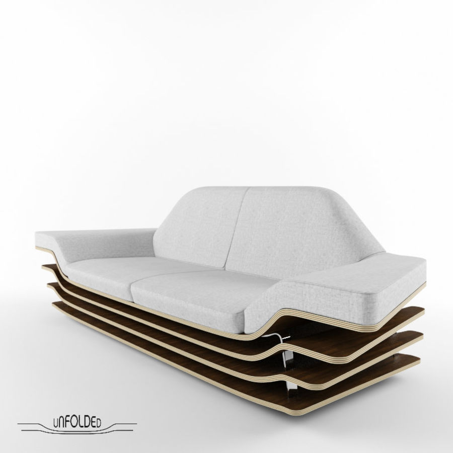 Rozkładana sofa royalty-free 3d model - Preview no. 2
