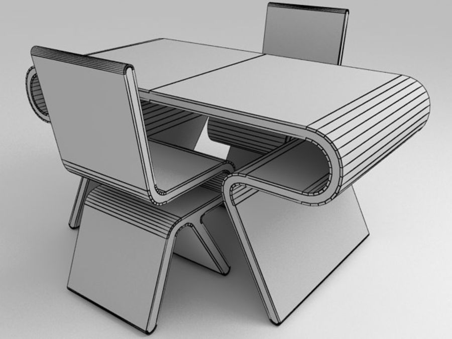 Mobília futurista: conjunto de design ultramoderno de mesa e cadeira royalty-free 3d model - Preview no. 4