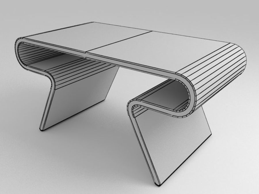 Mobília futurista: conjunto de design ultramoderno de mesa e cadeira royalty-free 3d model - Preview no. 3
