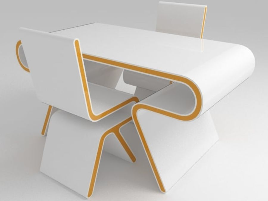 Futuristic Furniture: Ultramodern Desk & Chair Design Set royalty-free 3d model - Preview no. 1